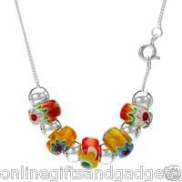 Stylish Brand New Necklace With Genuine Glass beads Made of 925 Sterling silver.