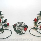 SET OF 3 MATCHING APPLE THEME VOTIVE AND CANDLESTICK HOLDERS - METAL