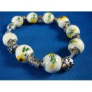 PORCELAIN BEADED BRACELET/STERLING SILVER