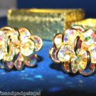 1960'S CRYSTAL CLIP-ON EARRINGS - VERY BEAUTIFUL