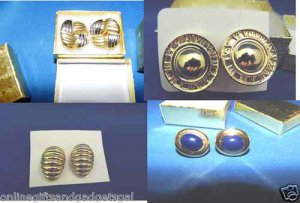 1980'S CLIP ON EARRINGS - GOLD OR SILVER CHOICES AUCTION IS FOR 1