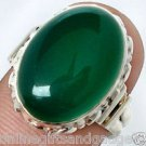 size 7 EXCELLENT GREEN CHALCEDONY OVAL 925 STERLING SILVER ARTISAN RING N8472