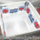 HANDMADE COASTER SET - RED,BLUE AND WHITE