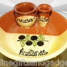 SPANISH TERRACOTTA BOWL - STATES IN SPANISH OLIVES BONE STICKS