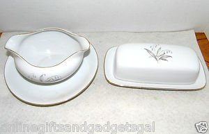 LOT OF 2 GRAVY BOWL & BUTTER DISH - KAYSONS FINE CHINA JAPAN GOLDEN RHAPSODY