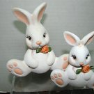 ADORABLE TWO WHITE RABBITS/CERAMIC
