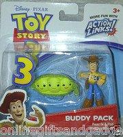 Lot of 2 Disney / Pixar Toy Story 3 Buzz w/Alien & Woody w/2 Peas in Pod