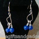 ADORABLE BLUE SAPPHIRE STYLE GLASS BEAD EARRINGS