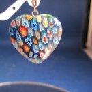 MULTI-COLORED GLASS HEART PENDANT 31 MM