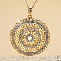 14 KT OVER .925 STERLING GOLDEN WAVES PAVE PENDANT W/CHAIN - NEW