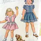 Adorable  Vintage 1943 Little Girl Dress Pattern  sz 4