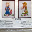 "Vintage Crewel Twins Kit ~ BEST FRIENDS ~   2 - 5""X7"" Designs - 1975"