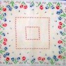"""Vintage  Tulip Border Handkerchief Hankie 12"""""""
