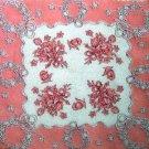 """Vintage Pink Floral Handkerchief Hankie 12"""""""