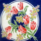 Vintage Navy Blue with Tulips Handkerchief Hankie 12""