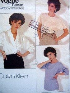 1128 Vogue CALVIN KLEIN Blouses Pattern sz 12 UNCUT - 1987