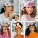 5948 Ladies Summer Hats Headbands Pattern 14 Designs UNCUT - 1992