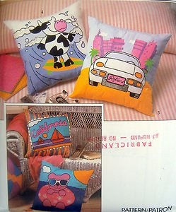 9227 FUNKY Applique & Painted DECOR PILLOWS Pattern UNCUT with Transfers