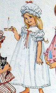 5080 Toddler Girls Pajamas Nightgown & Duster Cap Pattern  sz 2