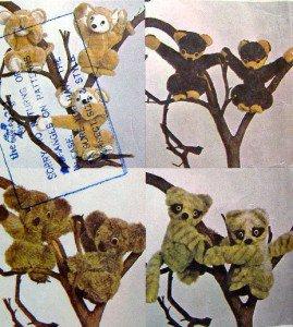 5830 KOALA  HONEY BEAR MONKEY RACCOON Pattern UNCUT - 1977