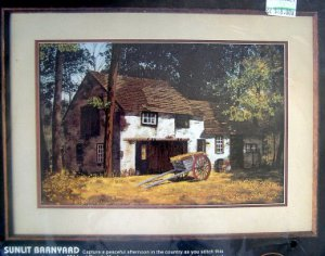 "Dimensions CREWEL  Kit ~ SUNLIT BARNYARD ~ 18""X12"" - 1986 - Mildred Kratz"