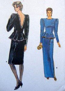 8821 Vogue V Back Skirt & Top Pattern sz 14 UNCUT
