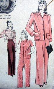 Vtg 565 Hollywood Priscilla Lane Pajama Pattern sz14 UNPRINTED