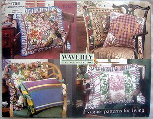 1758 Vogue Waverly Pillows Pattern 6 Variations  UNCUT - 1996
