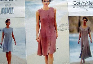 1589 Vogue Casual Summer Dress CALVIN KLEIN  Pattern 8-12 - 1995 UNCUT