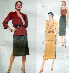 Vintage 2137 Vogue ANNE KLEIN Jacket Skirt Camisole Pattern sz 8 UNCUT - 1993