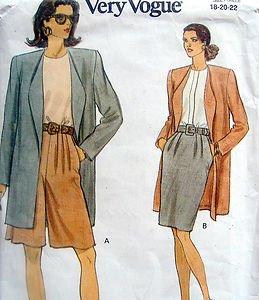 8264 Vogue Jacket Skirt Shorts Pattern sz 18-22 UNCUT  1992