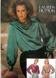 Vintage 6647 Lauren Hutton Feminine Blouses Pattern 12 UNCUT - 1984