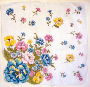 Vintage Flowers Shaped Edge Handkerchief Hankie