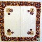 Vintage Brown  Flower Border Ireland Handkerchief Hankie with Sticker