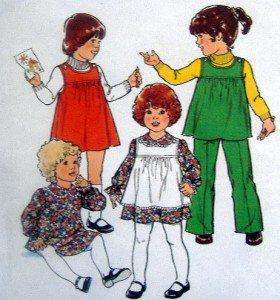 Vintage 2007 Toddler Girl Pinafore Dress Pants Pattern sz 1 UNCUT 1977