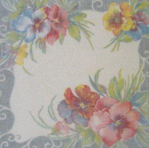 """Vintage Handkerchief Hankie Sheer  ~ PANSIES ~  10"""""""