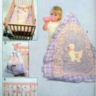 8953 Vintage BABY CHICK Applique Crib QUILT Diaper Bag Toy & Bumper  UNCUT -1979