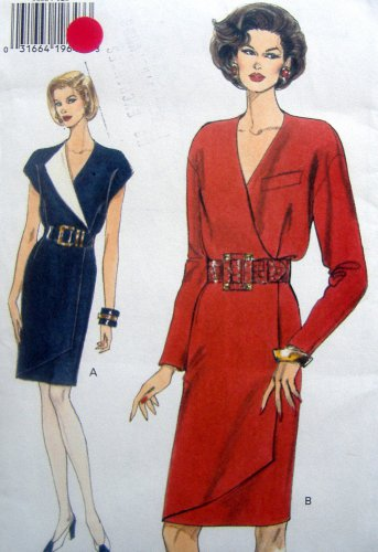 9035 Vogue MOCK WRAP DRESS PATTERN sz 12-16 UNCUT - 1994