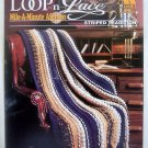 Annies Attic LOOP &#39;N LACE Mile a Minute Afghans Striped Tradition