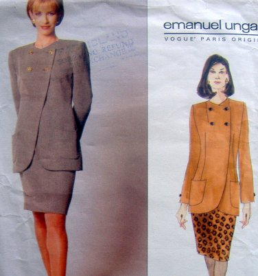 1996 Vogue Paris EMANUEL UNGARO Jacket & Skirt Pattern sz 8-12 UNCUT