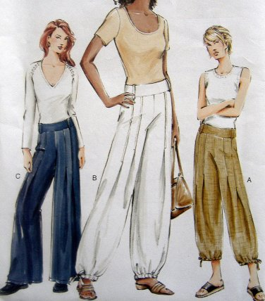 7736 Vogue Misses Wide Leg Drawstring Below Waist Pants Pattern sz 6-10 UNCUT