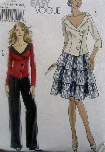 8372 Vogue Misses Summer Jacket Skirt Pants Pattern sz 14-20 UNCUT