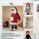 7436 American Girl Gotz WINTER WONDERLAND Doll Clothes Pattern UNCUT