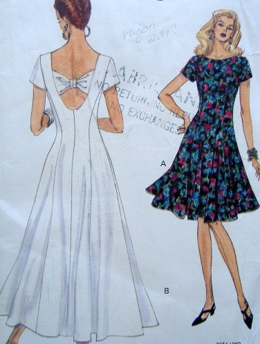 8654 Vogue Misses Summer Flared Dress Pattern sz 6-10 1993 UNCUT