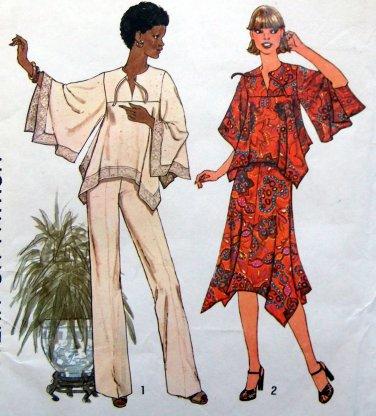 7884 Misses 70's Boho Retro Hippie Shirt Skirt Pants Pattern sz 12 UNCUT 1977