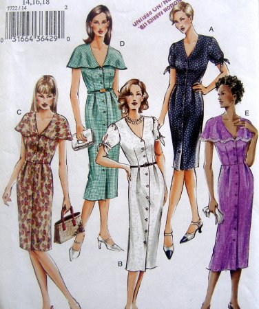 7722 Vogue Misses Fitted Bodice Front Pleat Dress Pattern sz 14-18 UNCUT 2003