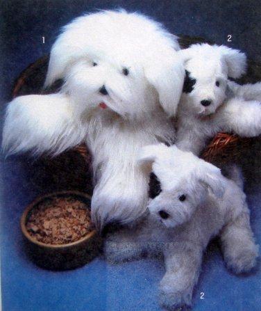 "Vtg 9208 Adorable Stuffed SHEEPDOG & PUPPY Pattern sz 15.5"" & 23"" UNCUT 1979"