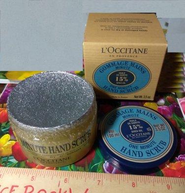 LOccitane One Minute Hand Scrub 3.5 oz / 100 ml Full Size Boxed