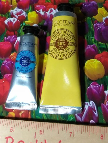 LOccitane Hand Cream Duo ~ VANILLA BOUQUET 1 oz + DRY SKIN .3 oz ~