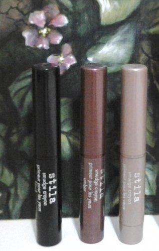 Stila Smudge Crayon Trio ~ BLACK ~ SMOKE ~ UMBER ~ Eye Primer + Shadow + Liner ~ Travel Size
